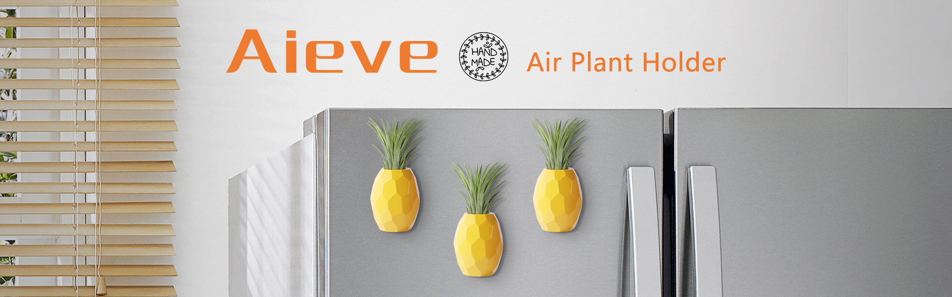 Air Plant Holder,Hanging Air Plant Holders,2 Pack Pineapple Geometric Air Plant Holder Container with Magnet for Hanging Air Plants Small Tillandsia Indoor Wall Home Décor