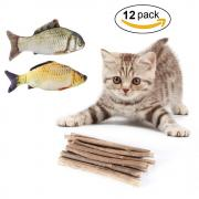 Aieve Catnip Toys,Catnip Sticks,10 Pack Matatabi Cat Catnip Chew Sticks Teeth Grinding Chew Toys Cat Molar Toothpaste Stick with 2 Pack Fish Catnip Toys for Cat Kitten Kitty Pets (12 Pack)